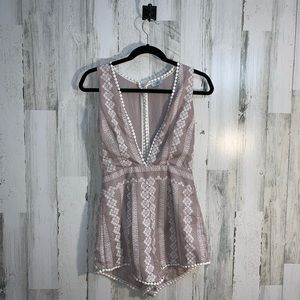 3/$25 Embroidered nude romper